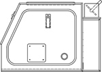 VE34SG vented containment enclosure technical drawing side view